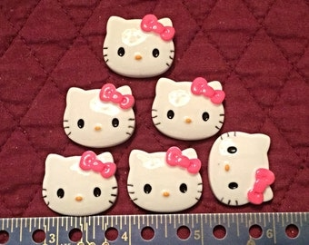 6 Hello Kitty Flatbacks with Hot Pink Bow