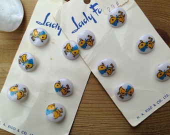 10 Vintage 1cm yellow ducky buttons White Buttons
