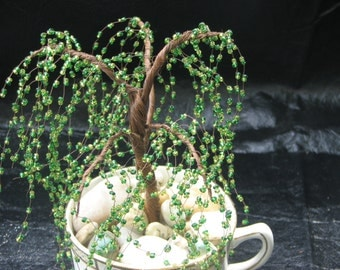 """Beautiful """"Cup of Tree"""" Copper Tree with Green Glass Beads in a Teacup - Hand Made"""