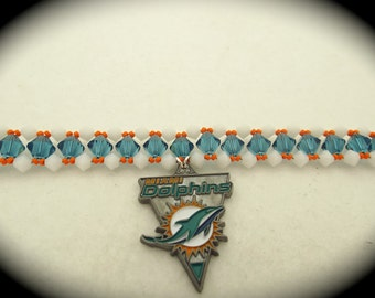 Miami Dolphins Swarovski Crystal Bracelet
