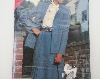 Womens suit/80s/office/conservative suit /unlined jacket 1980s vintage sewing pattern, Sizes 14 16 18, Bust 36 38 40, Butterick See Sew 5229