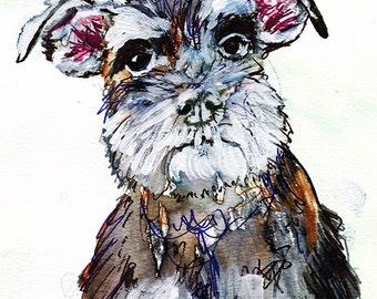 Miniature Schnauzer painting print, Dog art,schnauzer painting, Gift for Schnauzer owner,Schnauzer portrait, Schnauzer dog picture art print
