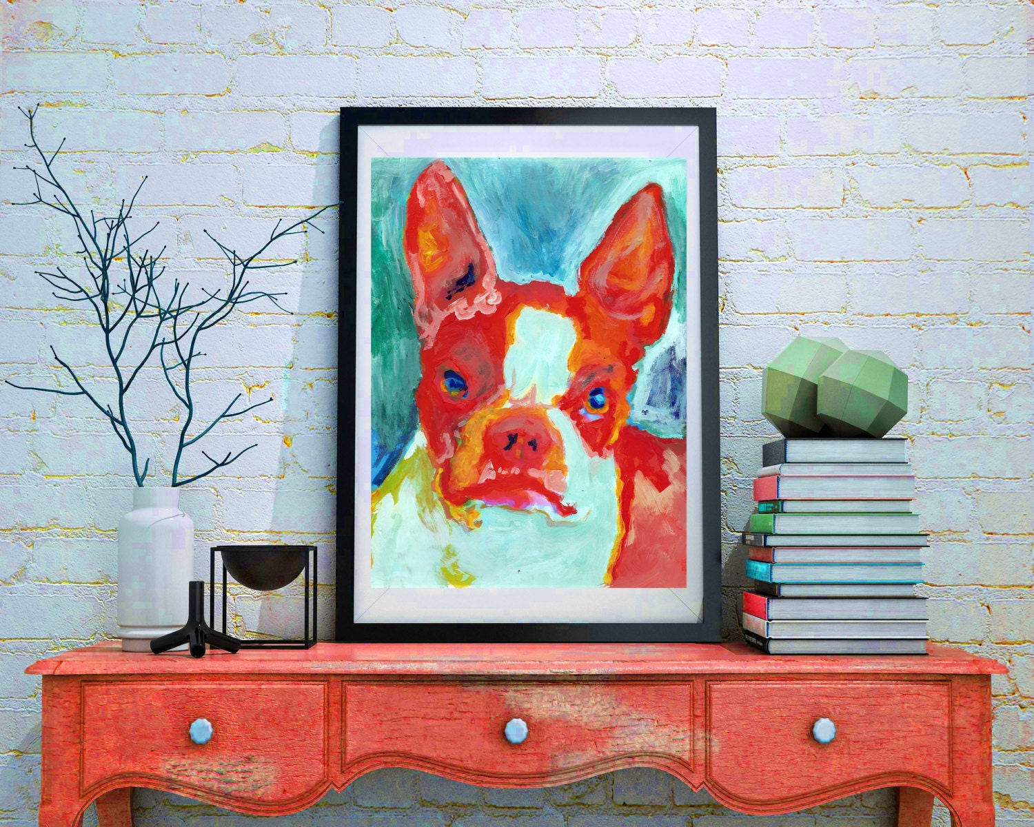 Boston Terrier Wall Art Poster Print Colorful Hand Signed Red