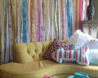 Hippie Curtains Boho Curtain Junk Gypsy Rustic Rag Fabric Ribbon Garland Teen Room Dorm