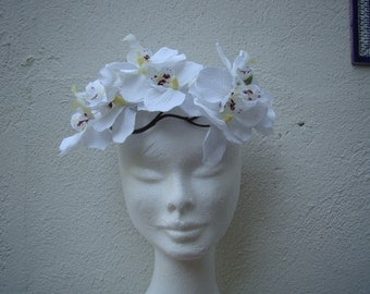 wreath for hair white orchids