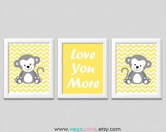 Yellow and grey monkey wall art print -UNFRAMED- nursery wall art, monkey, Love you more quote, chevron, quote, safari animal