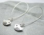 Bird earrings, long earrings, silver earrings, dangle earrings, stocking filler, nature lover gift, kidney ear wires