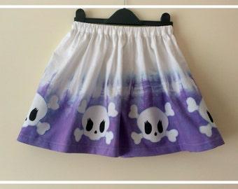 Ombre dyed childrens age 5-6 alternative skull skirt, goth, dip dye, purple, OOAK