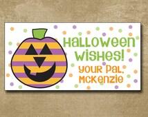 polka dot pumpkin gift stickers, Personalized Halloween Stickers for Kids, Party Favor Bag Stickers, Halloween Pumpkin, Jack o Lantern