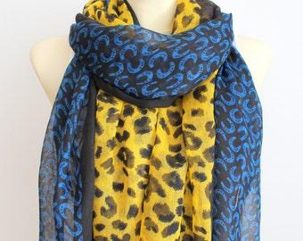 Leopard Scarf - Animal Print Scarf - Leopard Fabric Scarf - Unique Fashion Scarf - Boho Gift Idea for Women - Fashion Accessories - Autumn