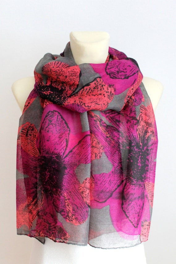 Purple Floral Scarf Pink Boho Scarf Floral Printed Scarf Gift for Mom Spring Celebrations Mothers Day from Daughter Husband Son
