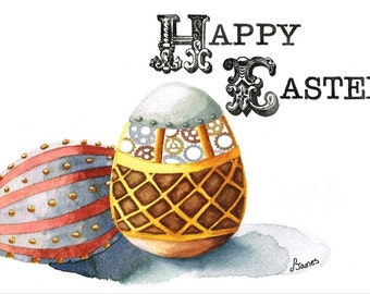 Steampunk Easter Eggs - PRINTABLE Card