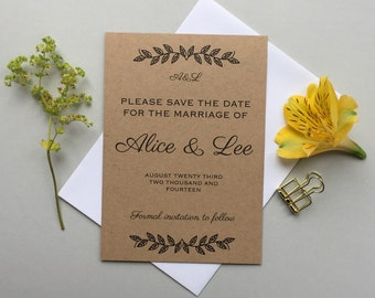Rustic save the date wedding invitations - Brown kraft save the date invites - Woodland leaves save the date - Matching invitations