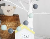 Boys Nursery Felt Ball Garland, Pom Pom Garland, Nursery Decor, Party Decor, Eco-Friendly Nursery Accessories Baby Shower