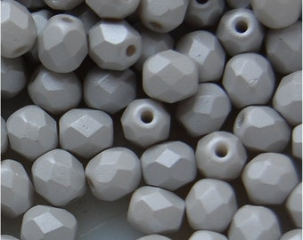 FIRE POLISH BEADS, 4mm, Grey Pearl, 02010/29320, sold in units of 200