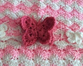 Butterfly Bliss,Crochet Shell Stitch Blanket,Crochet Shell Stitch Afghan,Shell Stitch Blanket,Shell Stitch Afghan,Baby Blanket,Baby Afghan