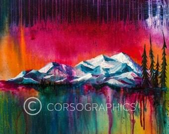 Art print, Mountain print, Wall art, mountain art, mountain scene 11x14 16x20 print home decor landscape art, colorful art acrylic painting