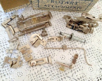 vintage box of GREIST Rotary Attachments - sewing machine parts - 14 pieces made in the USA
