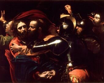 Caravaggio: The Taking of Christ. Religious/Biblical Fine Art Print/Poster.