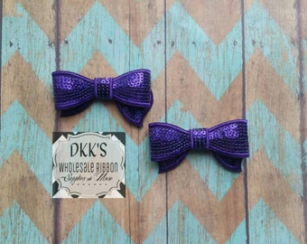 Purple Sequin Applique Bows- Going Out Of Business-Wholesale/Purple/2.8 inches