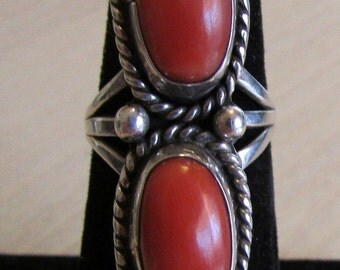 Sterling Silver and Coral Navajo Style Ring  Size 6