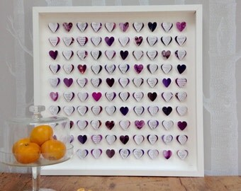 Wedding Guest Book framed wall art - purple guestbook - wedding guest book alternative - great Wedding Gift List idea - choose any colour