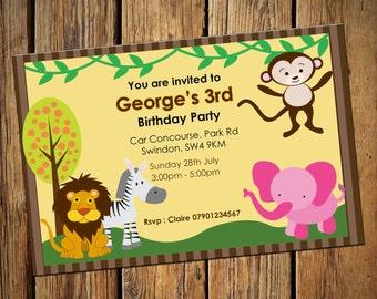 Jungle Party Invitations Personalised Birthday Invite