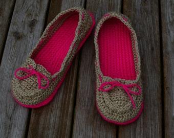 Crochet Womens Slippers, Crochet Boat Shoes, Women's Slippers, Crochet Slippers