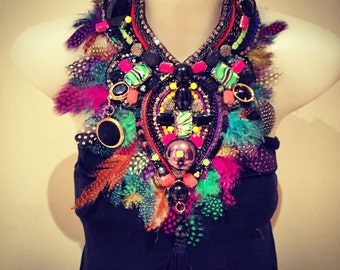 ULTIMATE PARTY NECKLACE  black and multicoloured pheasant feather fringe huge super statement statement bib collage necklace