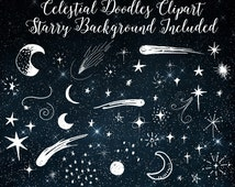 Celestial Clipart - Moon and Stars Doodle Clip Art for Commercial Use, Outer Space Night Sky Embellishments, Digital Instant Download