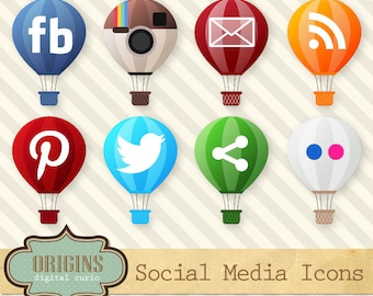 Social Media Icons - Hot Air Balloon Vector and PNG and Vector Media Logos for Web and Blog use, Instant Download