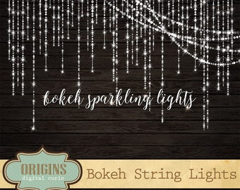 Bokeh Clipart Sparkling String Lights Clipart - Digital Overlay PNG Fairy Lights clip art, Christmas Wedding Strands Instant Download