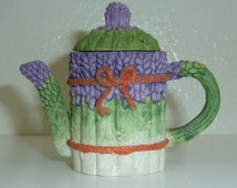 Vintage Miniature Hand Painted Resin Teapot Collectible White Green Purple Ribbon Gift