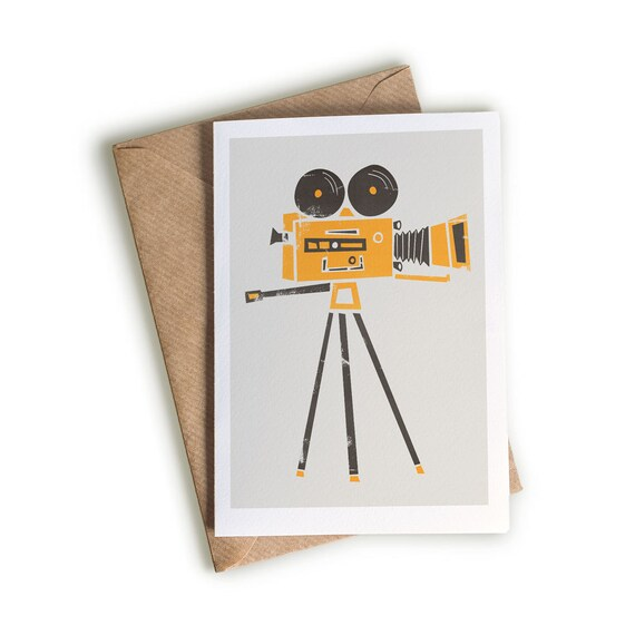 Cine Camera Card A6 Size Quirky Greeting Card Movie Buff