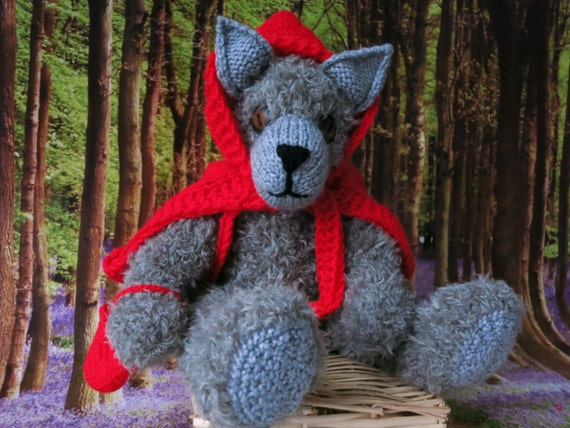 Rag Doll Wolf Welbie /hand knitted wolf/collectible decorative