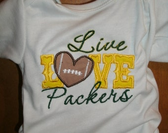 Personalized Packers Live Love Packers Football Custom Made Any Team, Design or Colors  EMBROIDERED