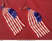 Beaded American Flag Earrings (#163)