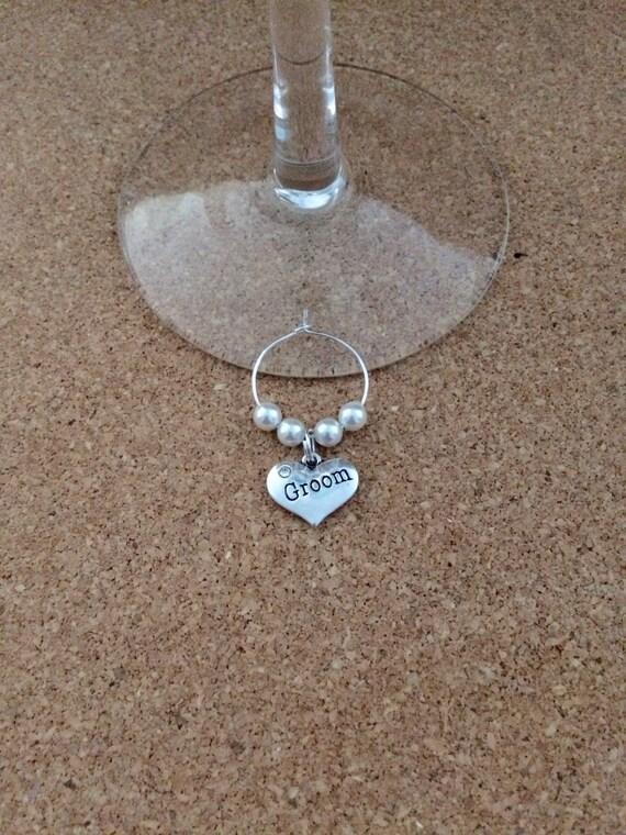 groom wine glass charm holder swarovski