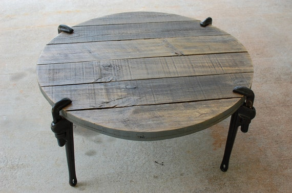 Round Industrial Wood Coffee Table By Sumsouthernsunshine On Etsy