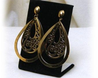 """TEARDROP SHAPED EARRINGS . . Gold Plated """"Stainless Steel"""", pierced earrings, never worn"""