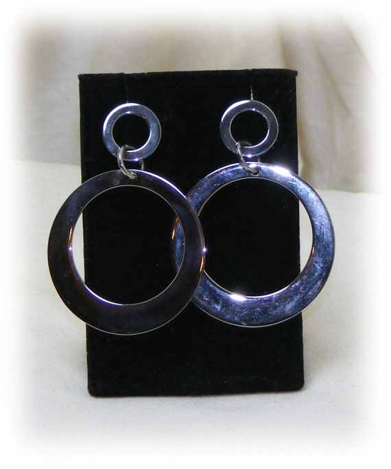 Stainless Steel . . STUD HOOPS STYLE, dangle pierced earrings, never worn