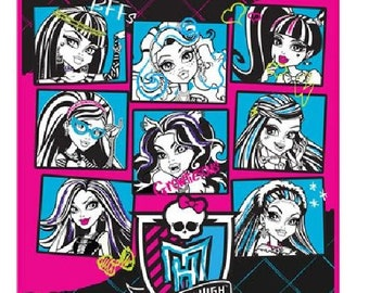 """Monster High 46"""" x 60"""" Plush Throw Blanket -  Personalized Monogrammed"""