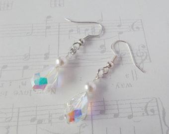 Crystal Bridal Earrings, Swarovski Crystal, Sterling Silver Earrings, Swarovski Pearl Earrings, Sparkly Wedding, Bridesmaid Earrings, Verity