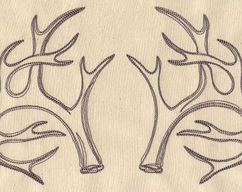 Antler Pair Embroidered Flour Sack Hand/Dish Towel