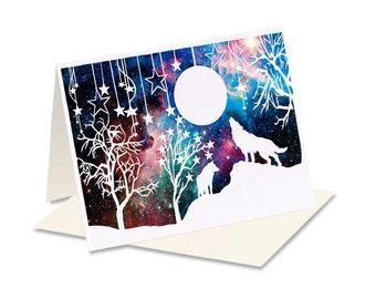 Wolf Art Card - Card With Wolf - Wolf Artwork Card - Galaxy Themed Card - Wild Animal Birthday - Greetings Card Him - Wolf Card
