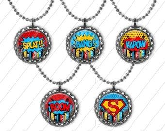 5 SuperHero Bottle Cap Necklaces Party Favors