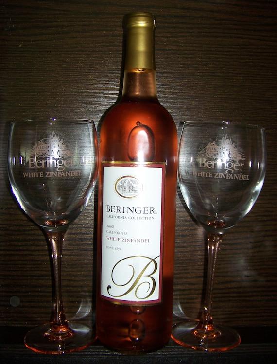 Pair Colored Stem Wine Glasses Beringer White Zinfandel Wine