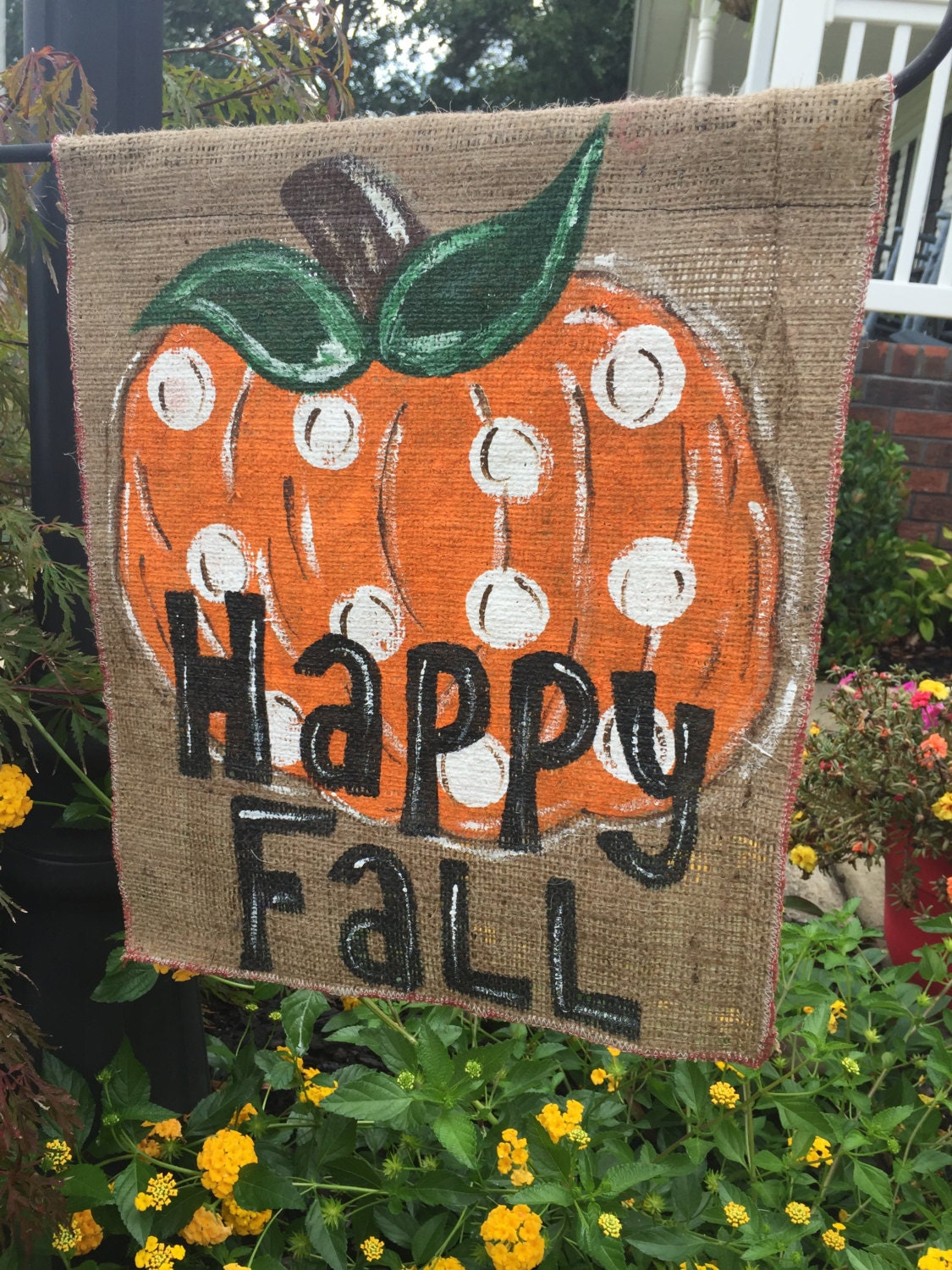 Fall Decorations Happy Fall Burlap Banner Flag Outdoor