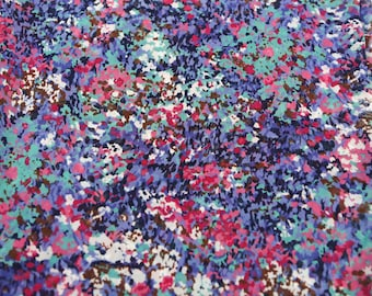 Purple Pink Floral Abstract Meadow Semi Sheer Printed Chiffon 1 Yard and 25 Inches