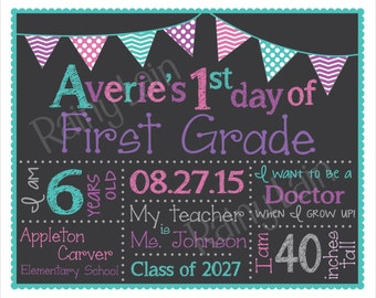 Custom Back to School Sign, First Day of School Chalkboard Poster, Preschool Kindergarten ALL Grade, Photo Prop, Keepsake, Pink Purple Teal